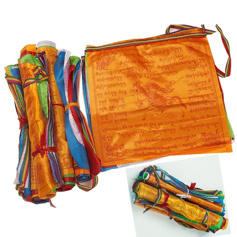 Religious Flags Tibetan Buddhist Supplies Colour Print Prayer Flag Artificial Silk Tibet Lung Ta Banner Scriptures Garden Flags