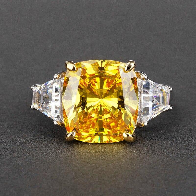 10*12 Zircon 11 quilates S925 anillo de plata esterlina Anillos de Compromiso de boda novia joyería de lujo