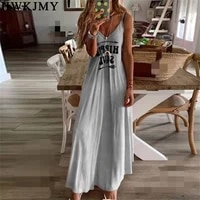 women fashion summer sleeveless strap tops casual deep v neck letters gradient printing boho long maxi dress holiday beach vest