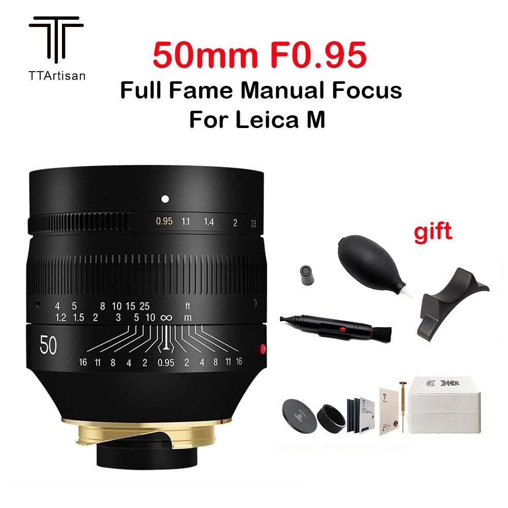 TTartisan 50 مللي متر F0.95 عدسة كاملة الشهرة فتحة كبيرة التركيز اليدوي ل Leica م جبل كاميرا فتحة كبيرة M9 M10 50 عدسة الكاميرا