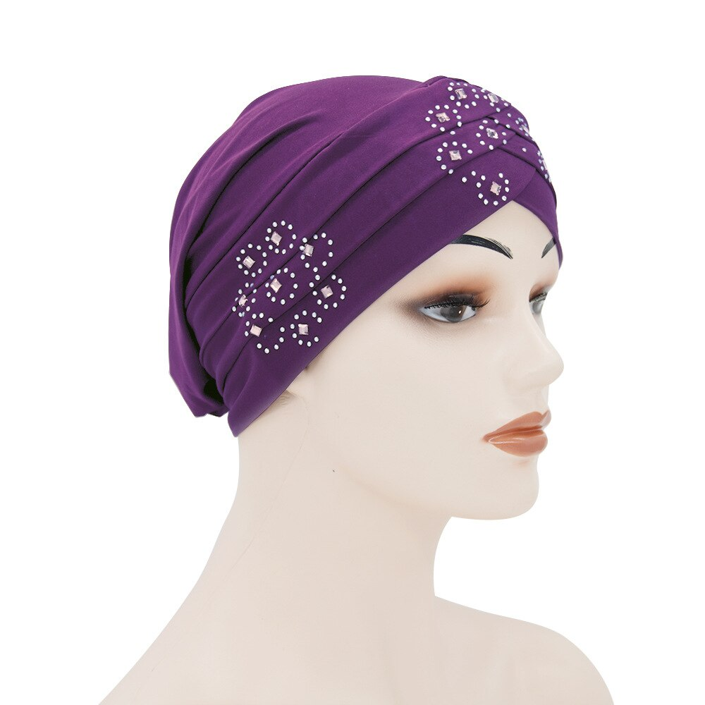 Moda cor sólida ouro veludo hijabs boné para mulher muçulmano envoltório cabeça cachecol turbante gorro com broca hijab inner underscarf caps