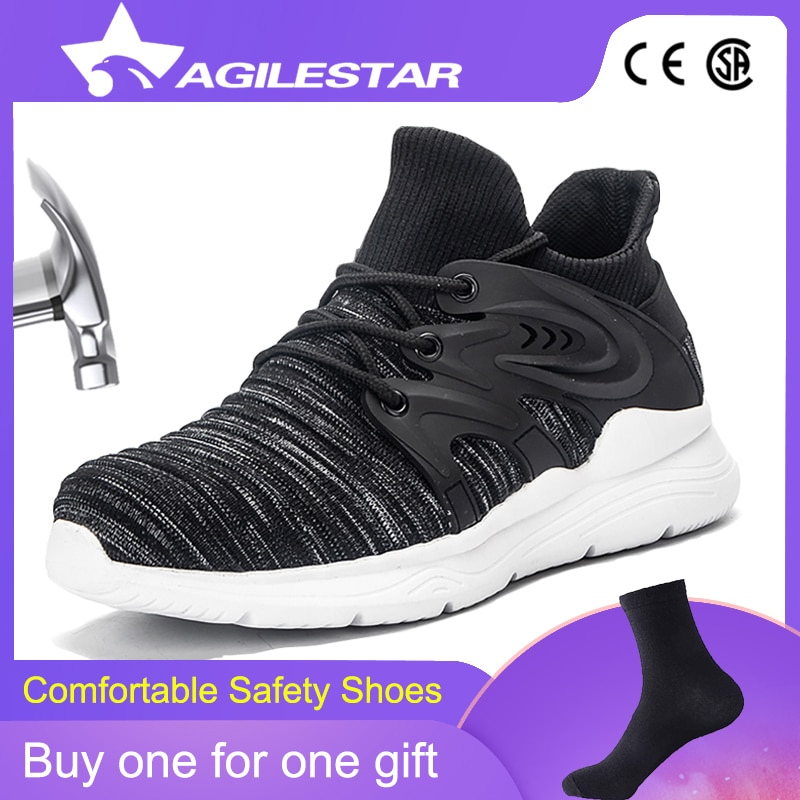 Men's Steel Toe Work Safety Shoes Casual Breathable Light Outdoor Sneakers Puncture Proof Boots Comfortable Industrial Shoes Men