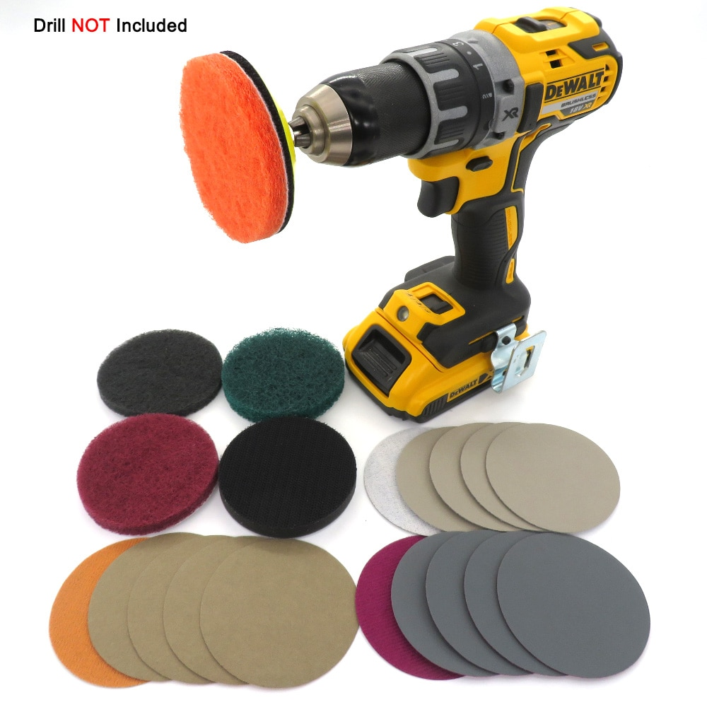 DIY Car Lights Kit Polishing Restoration Car Headlights Repair Set Car Care Sanding Discs Pad M16 Drill Adapter No Drill(21Pcs)