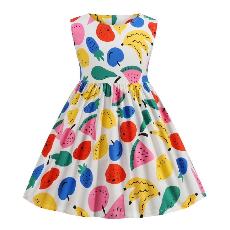 Baby Girl Dress Kid Clothes Casual Cool Birthday Summer Kawaii Blue Princess Fairy Long Cotton Free Shipping Fruit Beach Costume