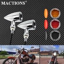 دراجة نارية LED بدوره إشارة رصاصة الوامض مؤشرات ضوئية البرتقالي والأحمر رمادي/برتقالي/أحمر عدسة 10 مللي متر كروم خمر ل هارلي