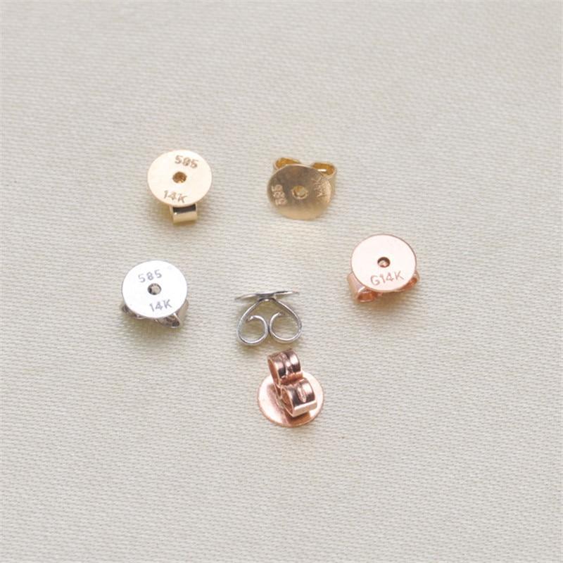 الأذن التوصيل حقيقية 14K الذهب الأصفر AU585 DIY بها بنفسك محلية الصنع قلادة قلادة سوار المواد الملحقات