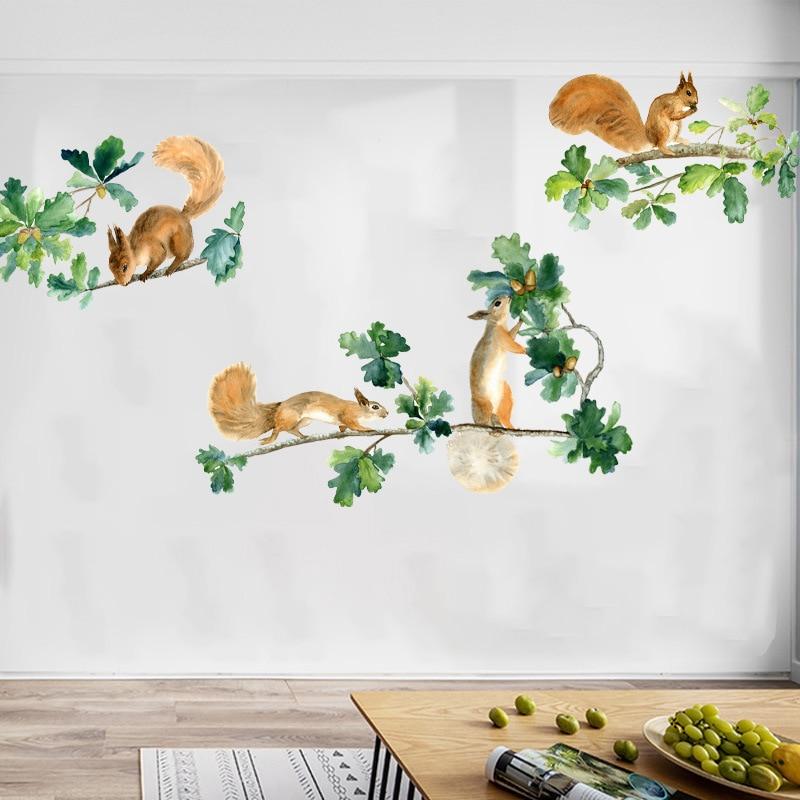 creative decorative cartoon 3d santorini lighthouse wall stickers Wall Sticker Creative Cartoon Squirrel Collect Chestnuts Children's Room Nursery Classroom Decorative Stickers