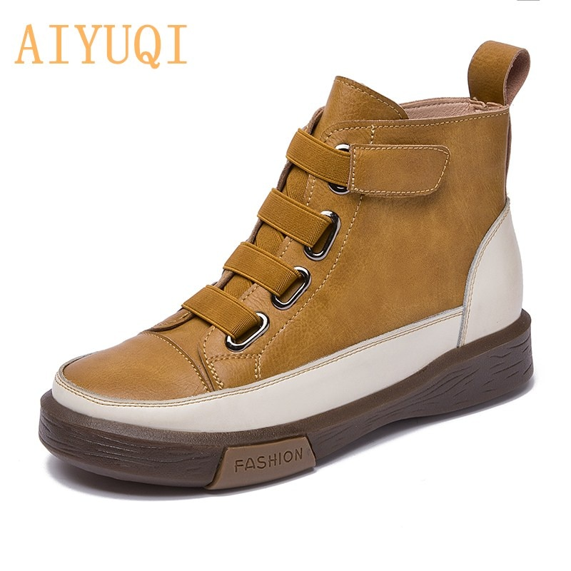 AIYUQI Ladies Sneakers Shoes Flat Fur Women Boots Genuine Leather 2021 Latest Trend Spring Ankle For