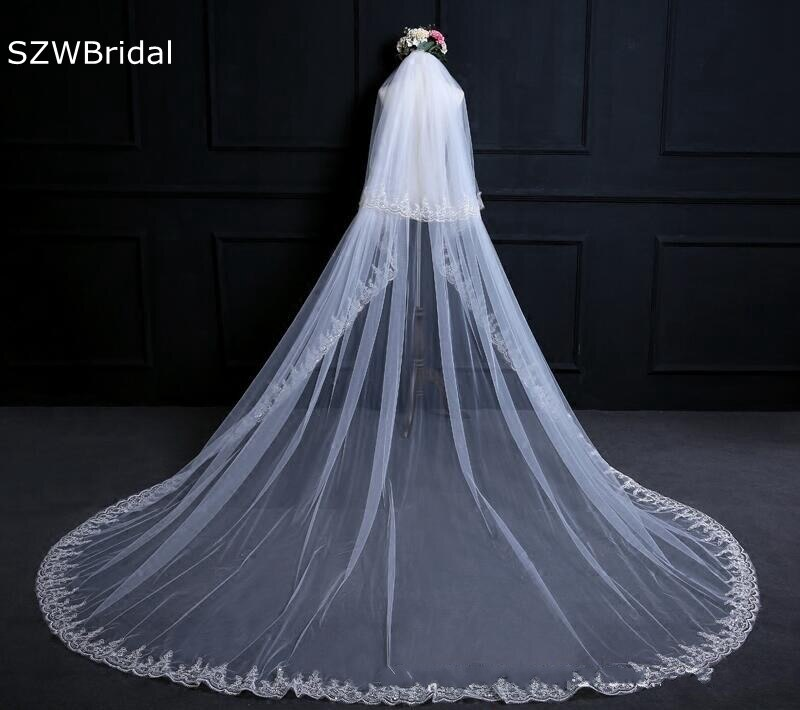 Velo de novia con borde de encaje, velo largo de marfil de...