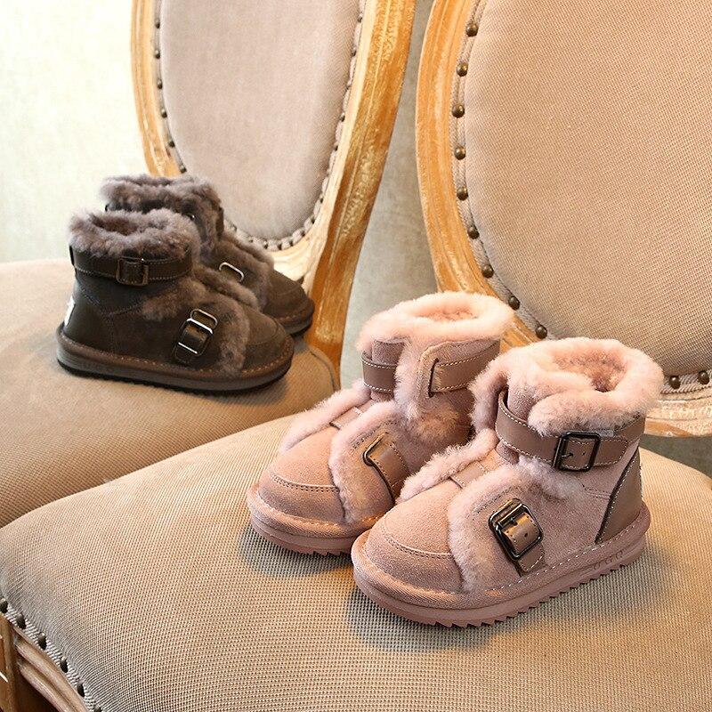 حذاء شتوي للأطفال من الجلد الطبيعي ، حذاء ثلج للأطفال ، وردي ، جمل ، أسود ورمادي