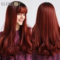 element long wavy wine red ombre synthetic hair wigs with bangs for black or white women cosplay party daily use heat resistant