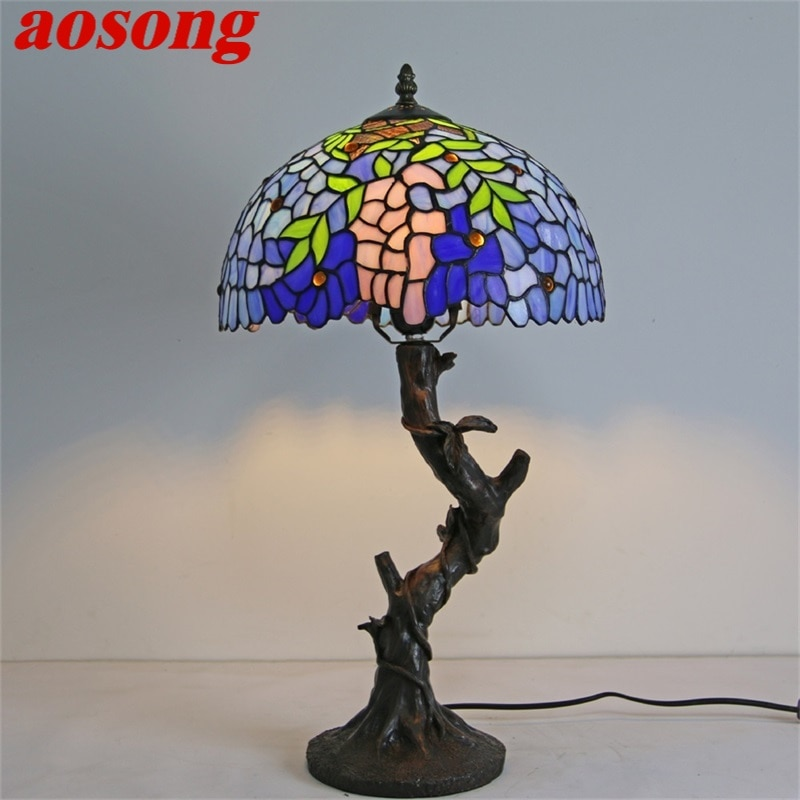 AOSONG مصباح طاولة تيفاني الحديثة الإبداعية الزخرفية نمط الشكل مصباح ليد لغرفة نوم المنزل