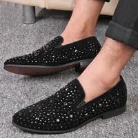 black rhinestone studs spike shoes men original black glitter diamond loafers shoes runway shining rivets party wedding shoes