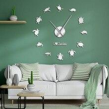 I Love Turtles DIY pegatina arte de pared decorativo reloj gigante de pared silueta de tortugas marinas decoración de playa animales marinos Reloj de pared grande