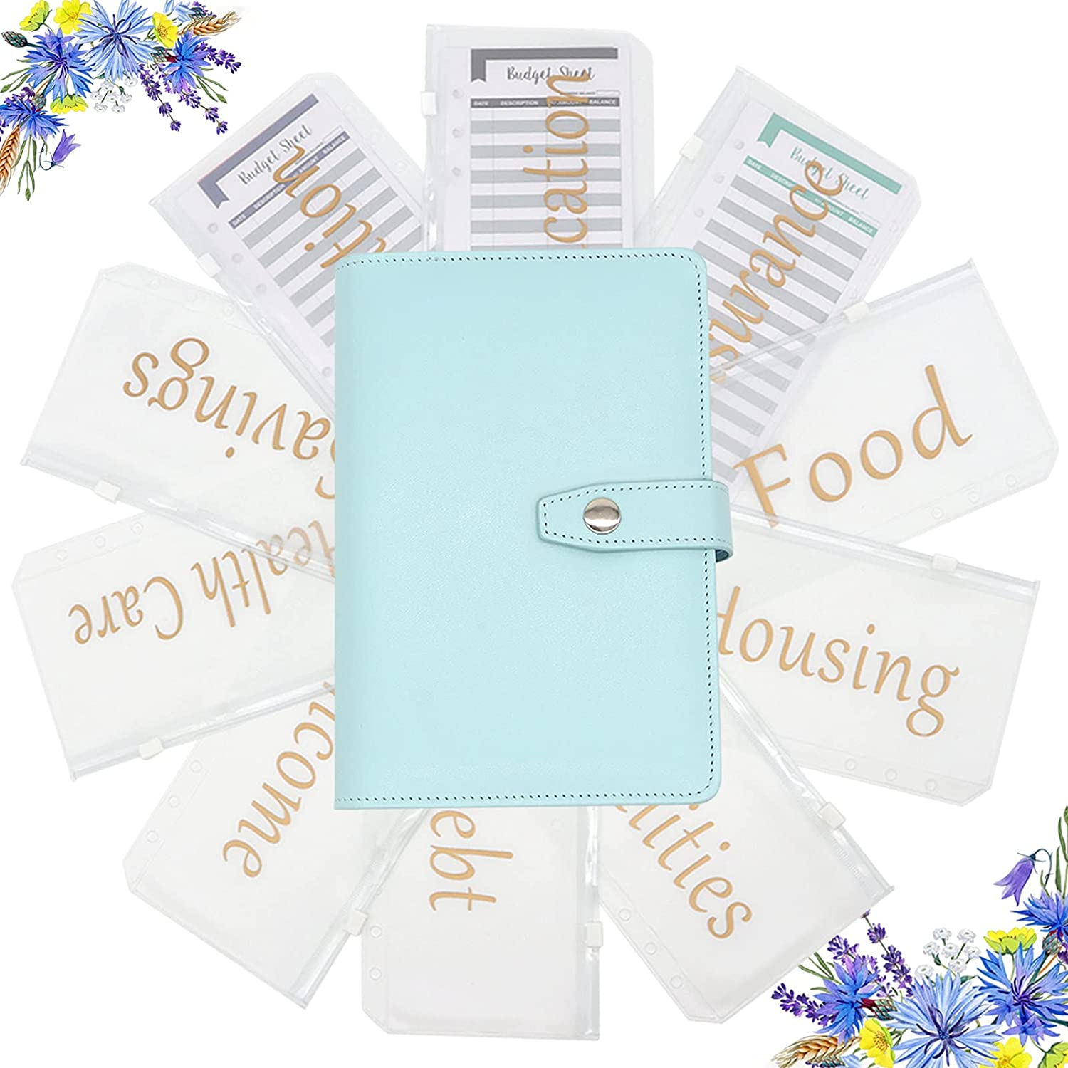 New Upgraded A6 PU Bill Planner Budget Binder with 10 Bronzing Printing Zipper Cash Budget Envelope and 12 Expense Budget Sheets