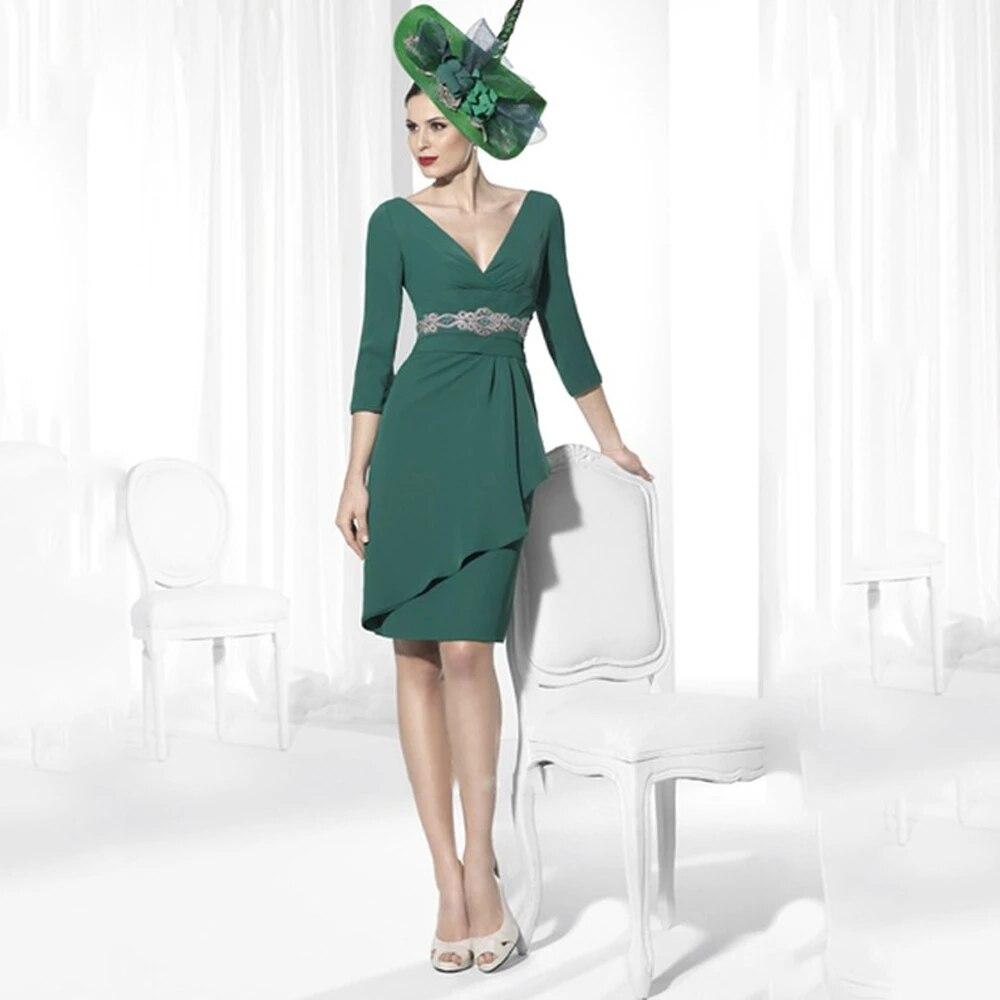black zip design square neck 3 4 length sleeves dresses Green Mother Of The Bride Dresses Sheath V-neck 3/4 Sleeves Knee Length Chiffon Short Groom Mother Dresses For Wedding