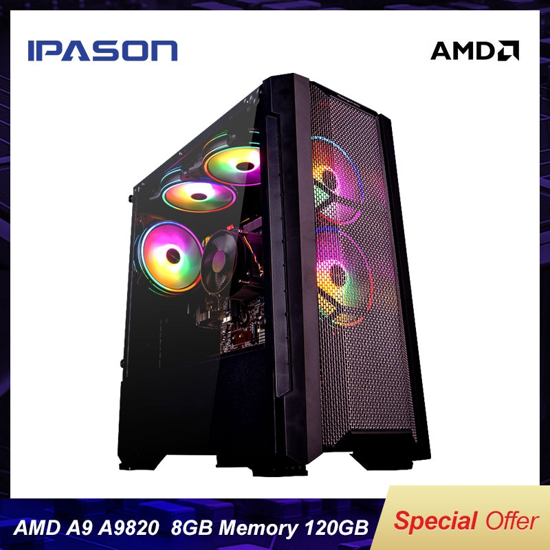 Gaming PC Hot Selling A9 9820 8-Core APU R7 350 Integrated Card GPU DDR3 8G RAM 120G SSD Compared With i5-7400 High Performance