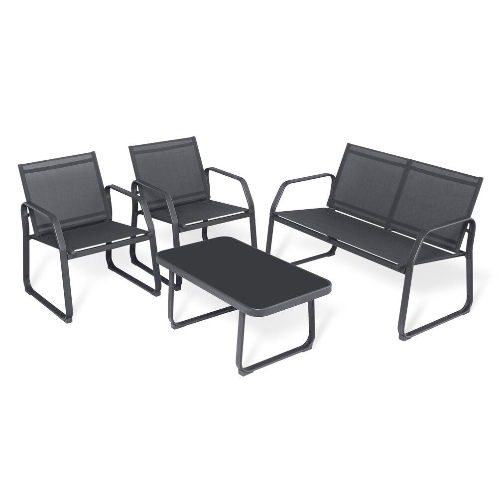 Sigtua-مجموعة أثاث الحدائق ذات 4 مقاعد مع 2 * كرسي بذراعين ، 1 * أريكة كرسي مزدوج ، طاولة قهوة زجاجية 1 * ، أثاث خارجي ، غرفة طعام