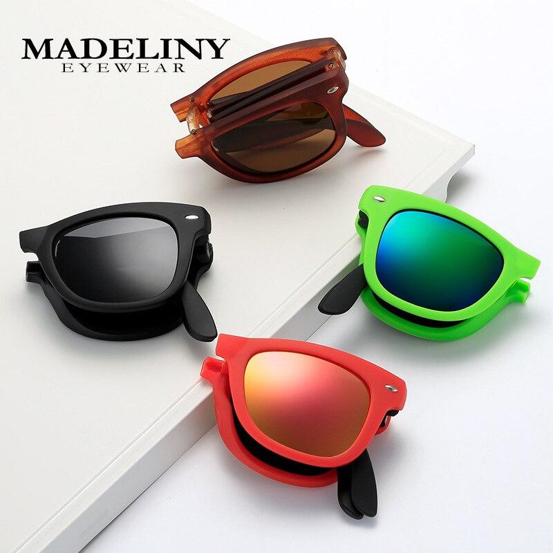 MADELINY Vintage Foldable Sunglasses Men Women Classic Sun Glasses Brand Design Eyewear Lunettes Sol