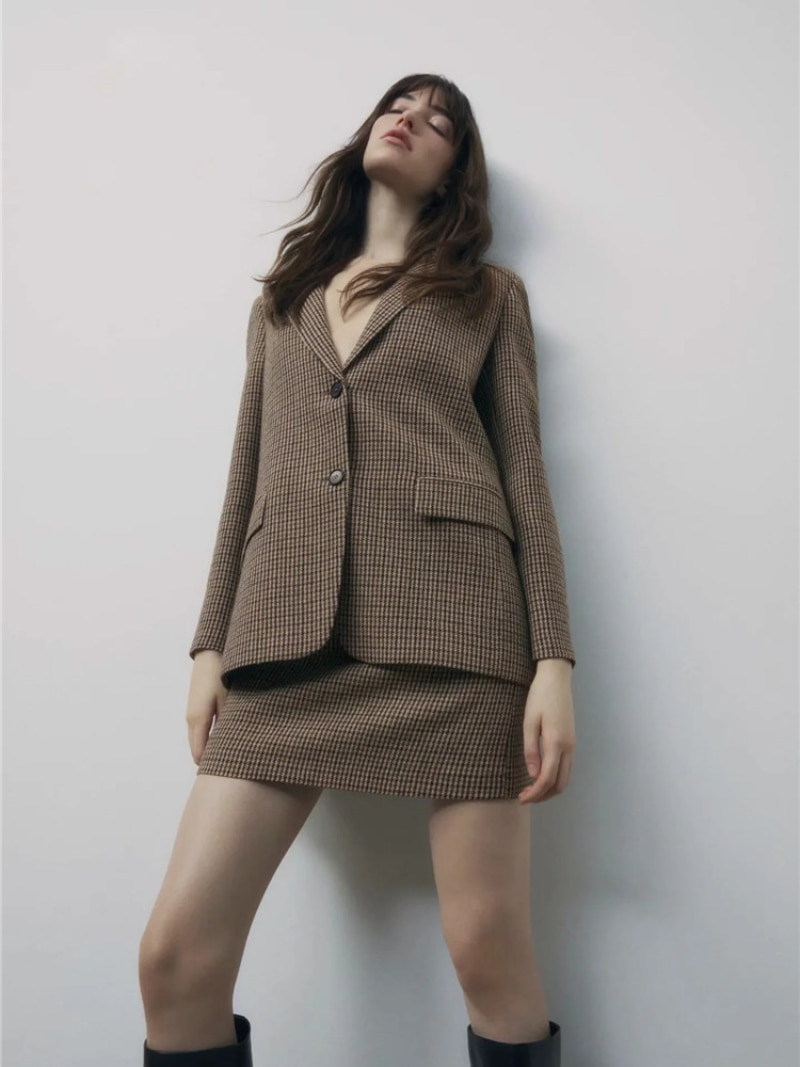 Spring Office Lady Houndstooth Blazer Suit Two Piece Set Skirts Women Single Breasted Plaid Blazer Chic High Waist Skirts Suits