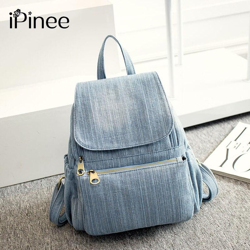IPinee-حقيبة ظهر نسائية من الدنيم ، حقيبة مدرسية زرقاء عملية ، حقيبة سفر عملية ، للمراهقات