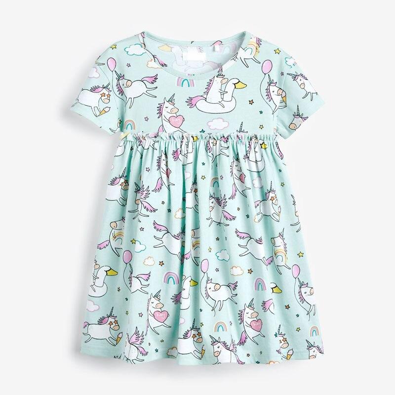 Little maven dress Baby Girls Brand Clothes for Summer Children Kids Girl's Clothing 100% Cotton Unicorn Print Girls Roupa