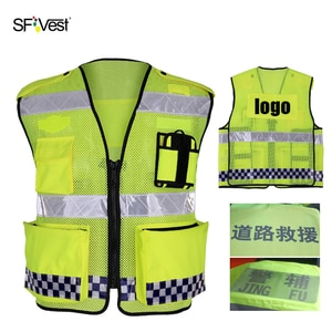High Visibility Reflective Vest Warning Safety Vest Fluorescent Yellow Multi tool Pockets For Security Traffic Work LOGO Print