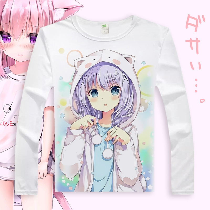 É o fim de um coelho cosplay t camisa kafuu chino hoto kokoa masculino/feminino primavera outono manga longa camiseta casual camiseta superior
