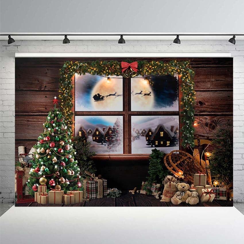 Boże narodzenie tło strony okno choinka Santa przewóz fotografia tło dla fotografii galeria fotografia Banner