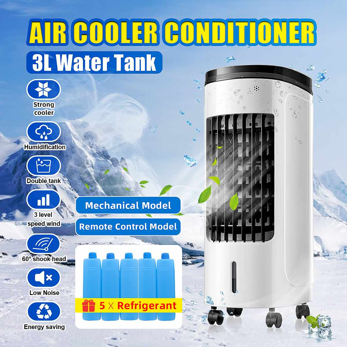 60W 220V 2 Tank Home Water Mobile Portable Air Conditioner Conditioning Fan Humidifier Cooler Cooling Timer With 5 Refrigerant