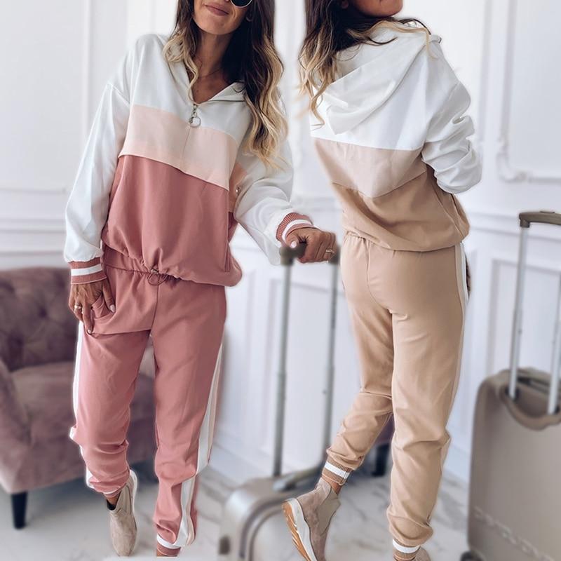 2021 Women Casual Tracksuit Sportswear Sets Women Patchwork Hoodies Sweatshirt and Sweatpant 2 Pcs Set Spring Autumn Jogger Set