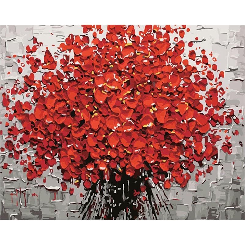 Красная фоторамка GATYZTORY, цифровая картина «сделай сам» по номерам, акриловая краска, абстрактная, современная, Настенная живопись на холсте ...
