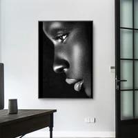 Affiche moderne noire en forme de levre  peinture a lhuile feminine  toile cadros et peinture murale imprimee africaine  decoration de chambre a coucher
