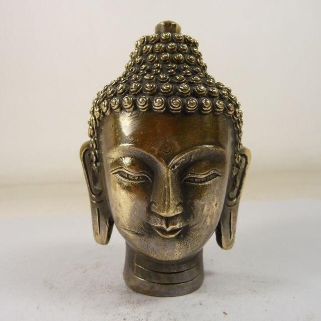 Elaborado chino antiguo hecho a mano de Buda Sakyamuni cabeza estatua