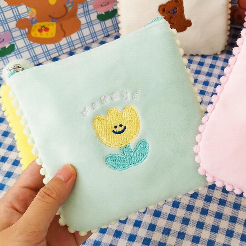 Bentoy feminino saco de guardanapo sanitário meninas coréia moeda bolsa caso do cartão milkjoy feminino claro tampon japão armazenamento titular