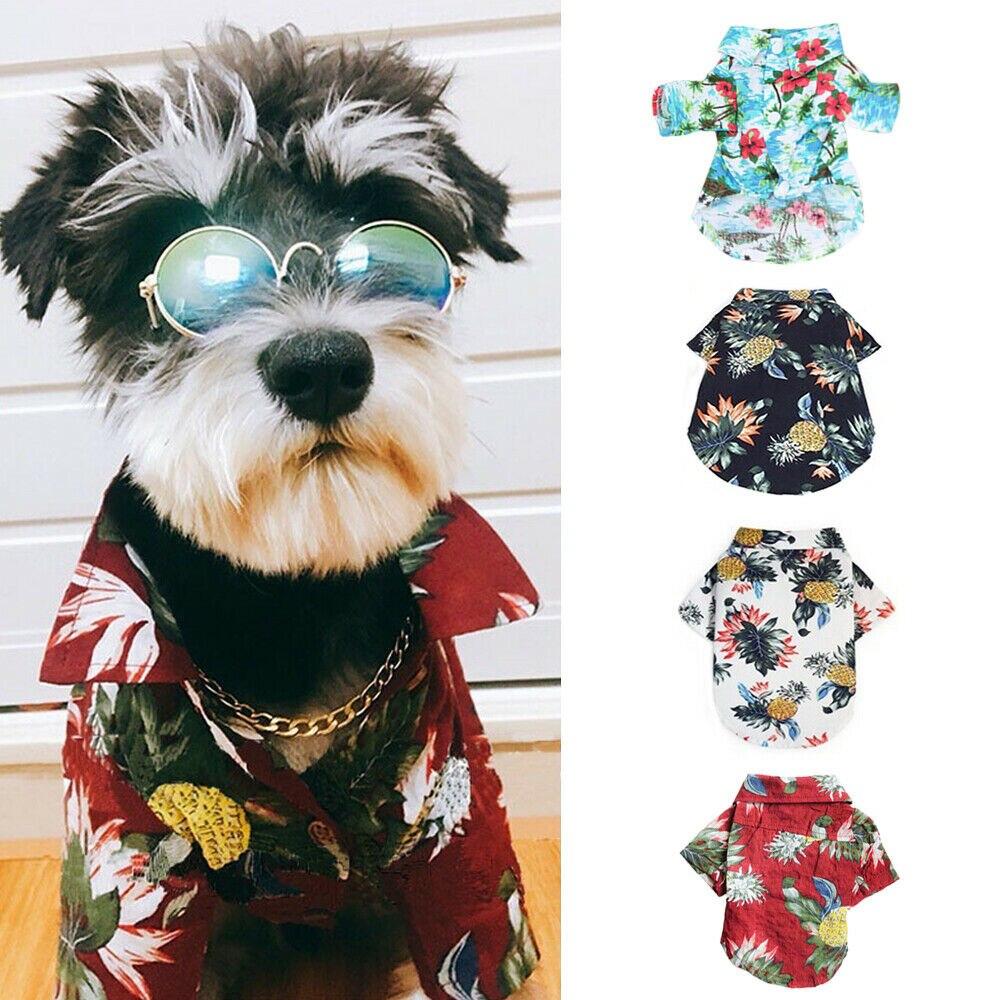Pet Dog Hawaiian Shirt Summer Beach Clothes Vest Floral Printed Top For Small Medium Dog