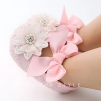 2pcs toddler baby girl shoes cotton soft sole lace flower ribbon pearl bow princess non slip first walkersheadband set 0 18m