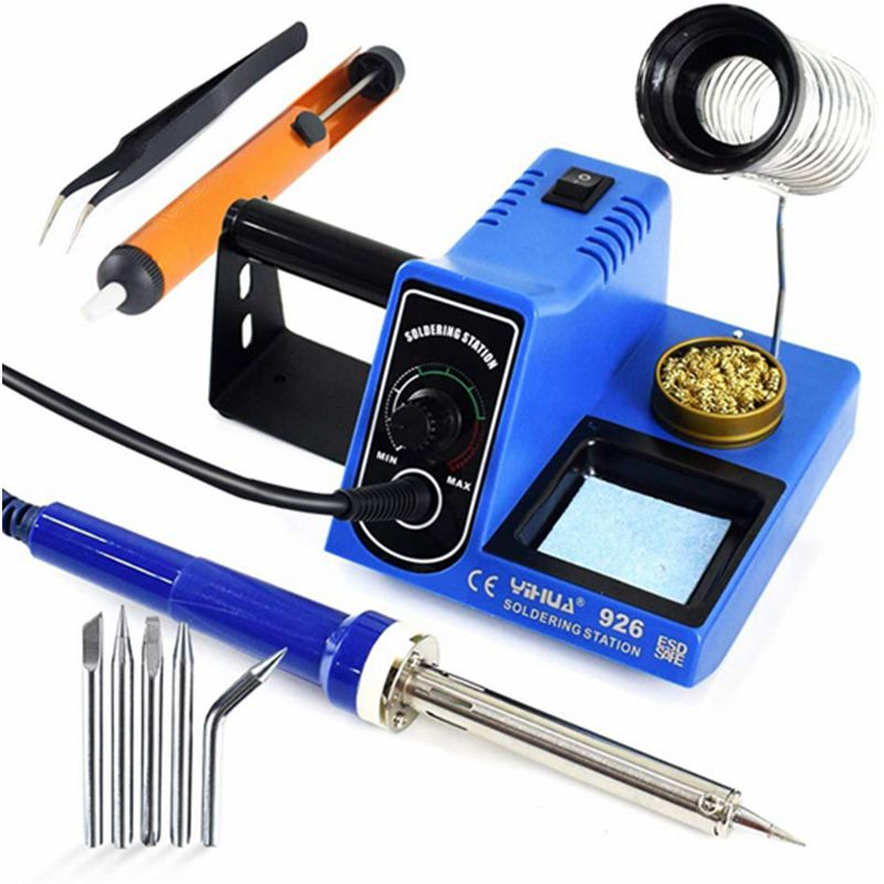 Fasttobuy 60W Rework Soldering Iron Station Anti-Static Soldering Iron Set Temperature Adjustable Repair Tool Kit Soldering Tips