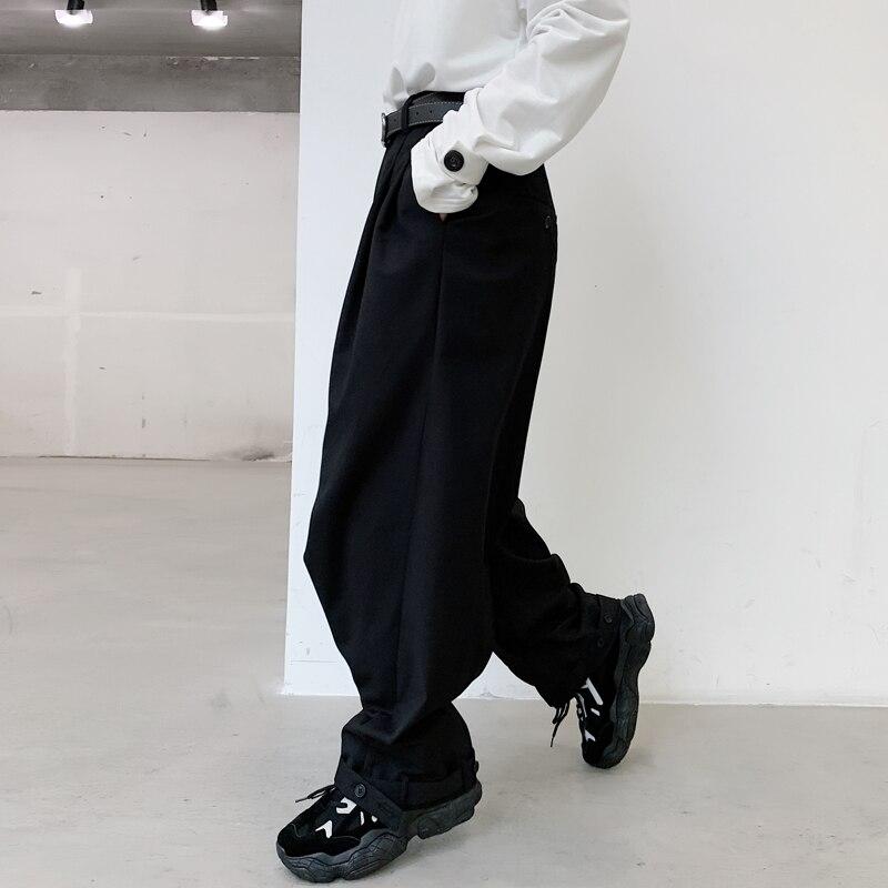 MIXCUBIC 2020 primavera Inglaterra estilo simple pliegues únicos botón beam pantalones hombres casual pantalones sueltos para hombres trousera, tamaño M-XL