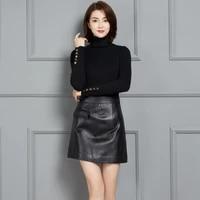 2021 new fashion genuine real sheep leather skirt k6