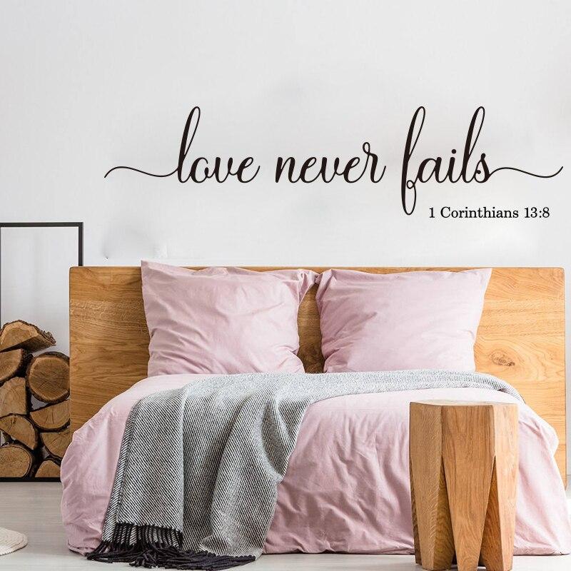 Adhesivos de pared Corinthians 1 Love Never Fails 13, adhesivos de pared con frases para sala de estar, familia, boda, amor, versículo bíblico, decoración de vinilo