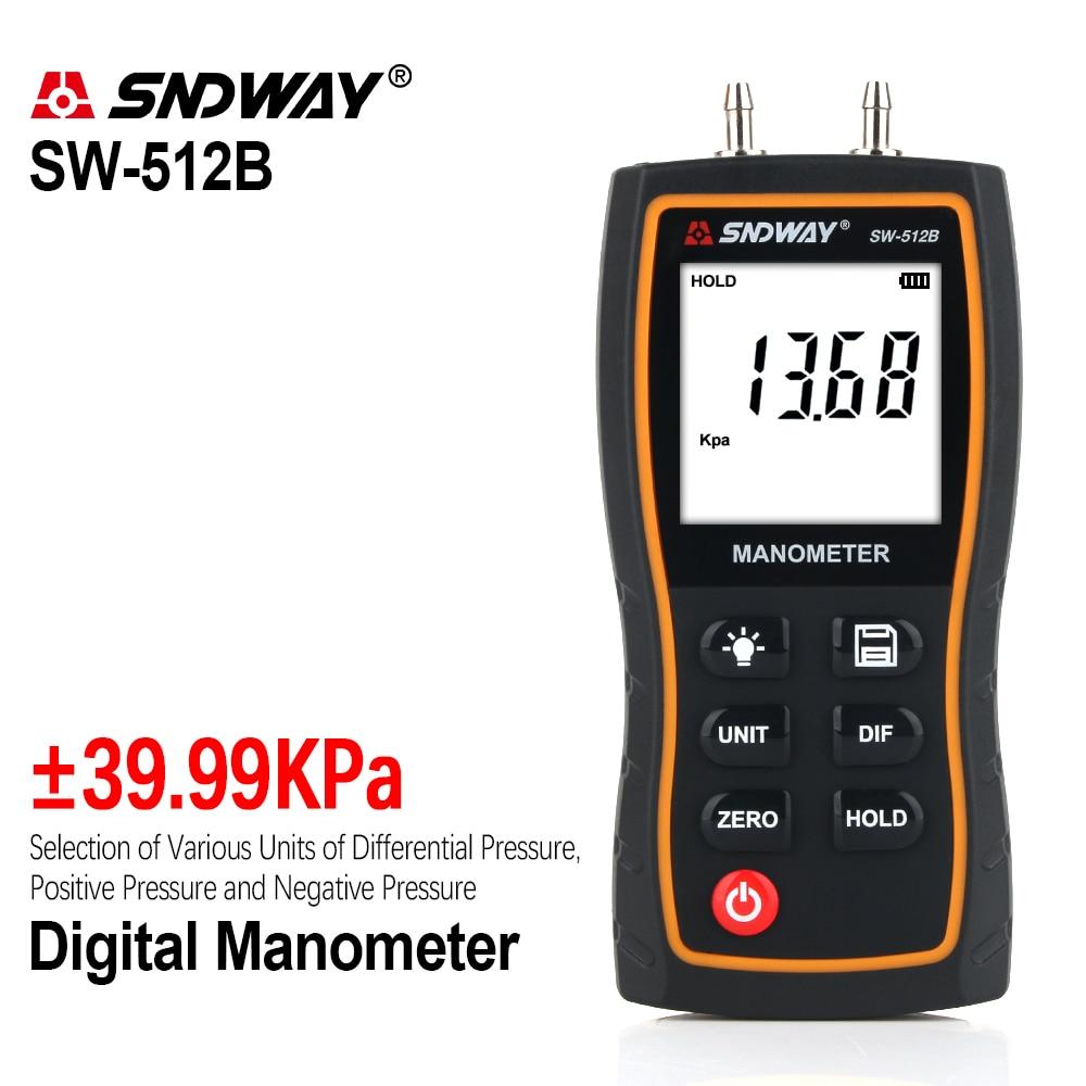 SNDWAY الرقمية المانومتر قياس ضغط الهواء SW-512 ضغط مقاييس التفاضلية الطبيعي الغاز قياس الضغط متر قياس
