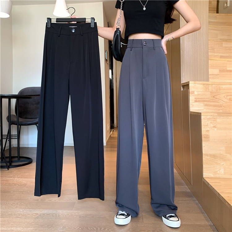Casual Suit Pants Spring and Summer Straight Loose High Waist Drooping Mopping Wide-Leg Trousers Wom
