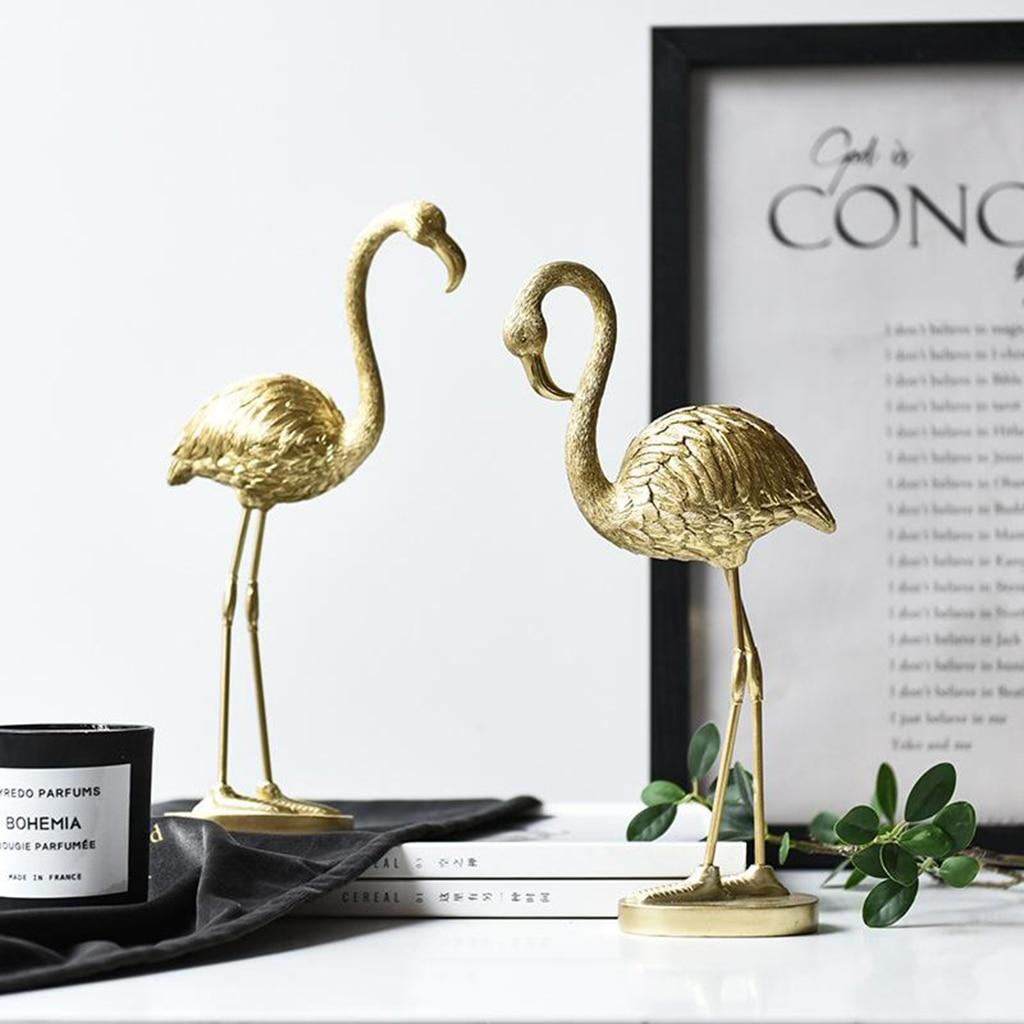 Роскошная Статуэтка Фламинго в скандинавском стиле, домашнее украшение из смолы, ремесло, украшение для телевизора, шкафа, оригинальное креативное украшение