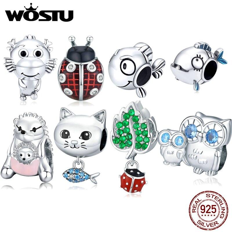 WOSTU Plata de Ley 925 auténtica Animal encanto de cuentas Clip elegante con cuentas de cristal pulseras mujeres de la joyería de Diy hacer