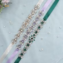 TOPQUEEN-Cinturón de satén para vestido de novia, faja decorativa de color púrpura con apliques de diamantes de imitación de colores para vestido de novia, cinturón de baile de graduación, S476