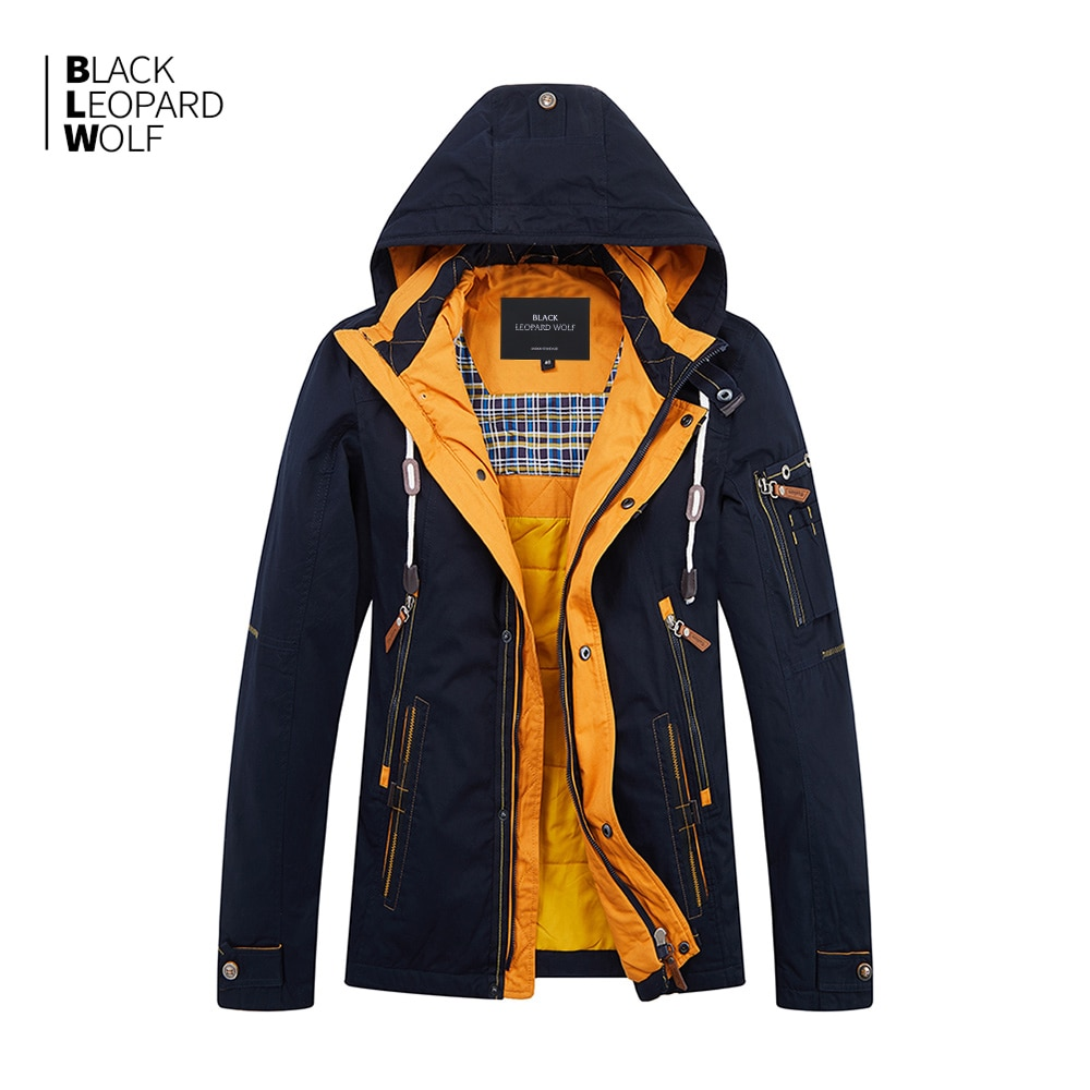 Blackleopardwolf 2019 Новое поступление весенняя мужская куртка из плотного хлопка высокого качества с капюшоном весенние пуховики на молнии ZC-027