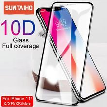 Protector de pantalla Suntaiho 10D para iPhone X XS 6 6S 7 8 plus, protector de pantalla de cristal para iPhone 11 ProMAX XR SE2