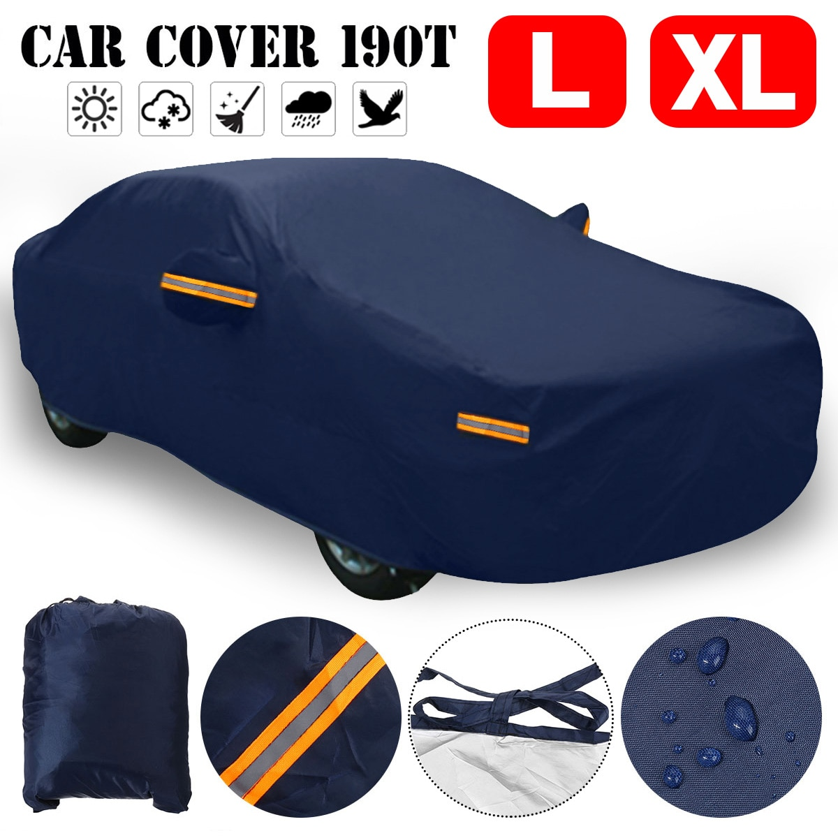 190T Universal Full Car Cover Indoor Outdoor Waterproof Anti Snow Ice Dust Resistant Sun UV Shade Co
