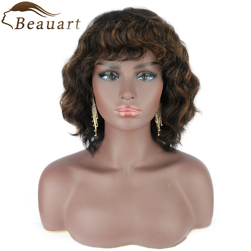 Beauart 100% Human Hair Bob Cut Full Wig With Hair Bangs 13 Inches Short Wavy Curly Wigs For Women Ombre Brown Machine Wig